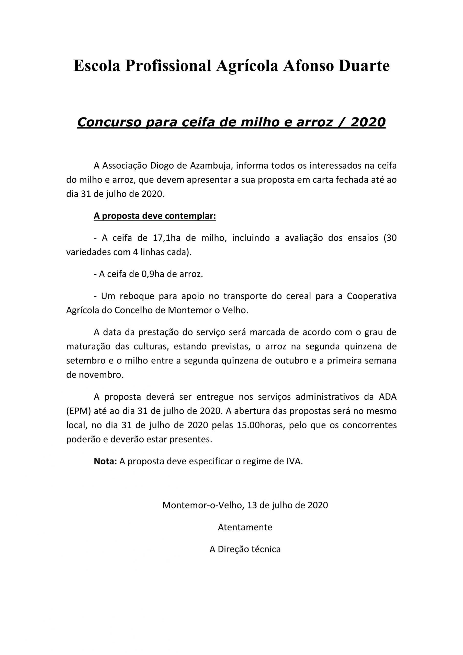 Concurso para ceifa de milho e arroz 20201